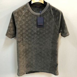 Louis Vuitton Men Dark Green Towel Fabric T-Shirt